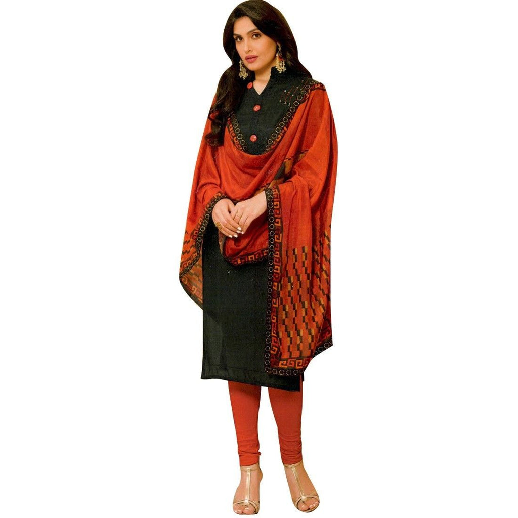 Readymade Rayon Silk Handworked Salwar Kameez with Stole Dupatta
