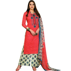 Readymade Cotton Self Printed & Embroidered Salwar Kameez with Palazzo Pants Ready to wear Salwar Suit