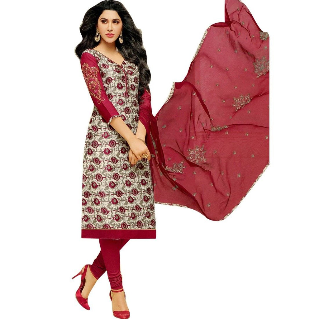 Readymade Cotton Embroidered Sleeves Salwar Kameez Suit Indian