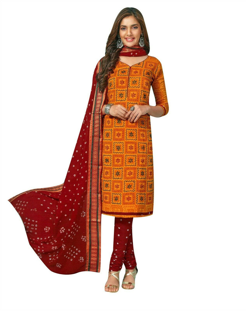 Ladyline Cotton Handworked with Cotton Bandhani Dupatta Salwar Kameez Ready to Wear Indian Dress