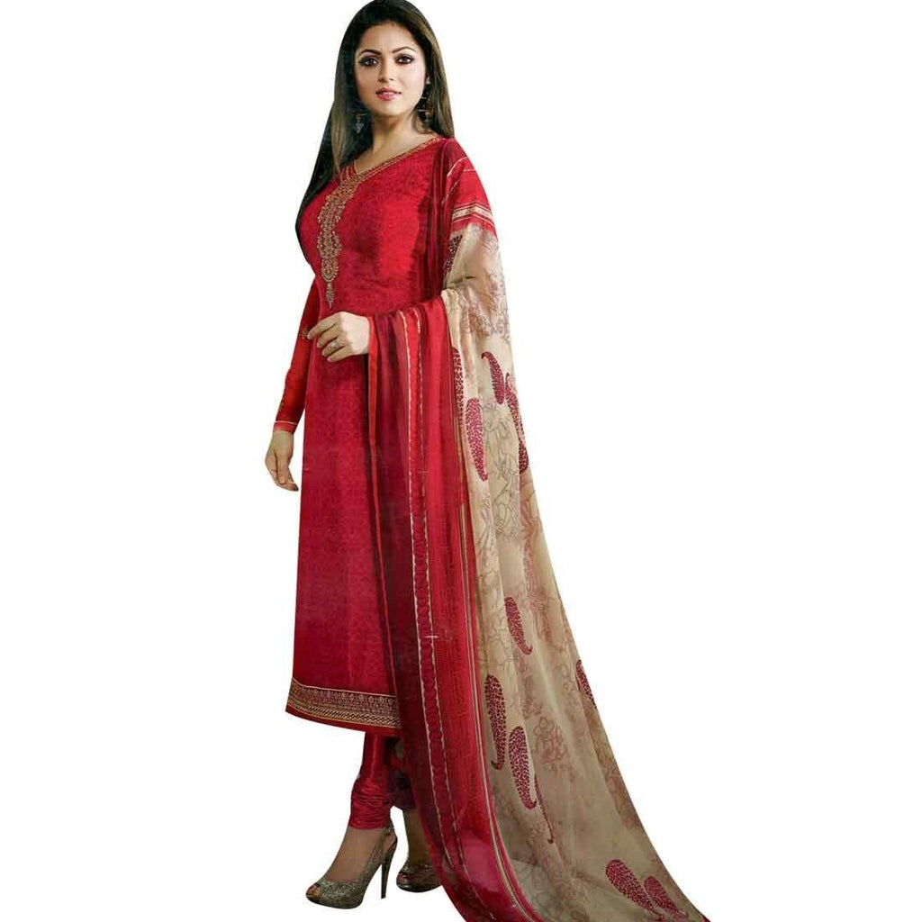 Beautiful Italian Crepe Embroidered Readymade Salwar Kameez Indian