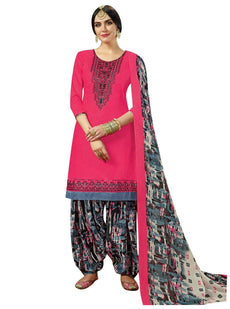 Ladyline Salwar Kameez Plain Cotton Silk Embroidered with Printed Patiala Salwar & Cotton Dupatta