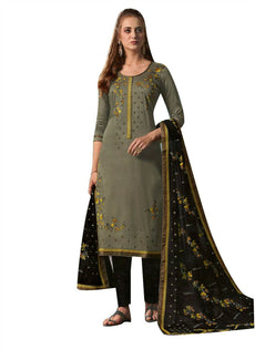 Ladyline Rich Cotton Formal Plain Embroidered Salwar Kameez Ready to Wear Straight Pants Indian Dress