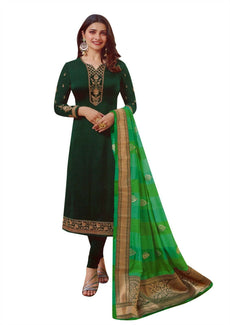 Ladyline Wedding Partywear Salwar Kameez Maslin Silk Plain Embroidered with Banarasi Silk Dupatta Indian Pakistani