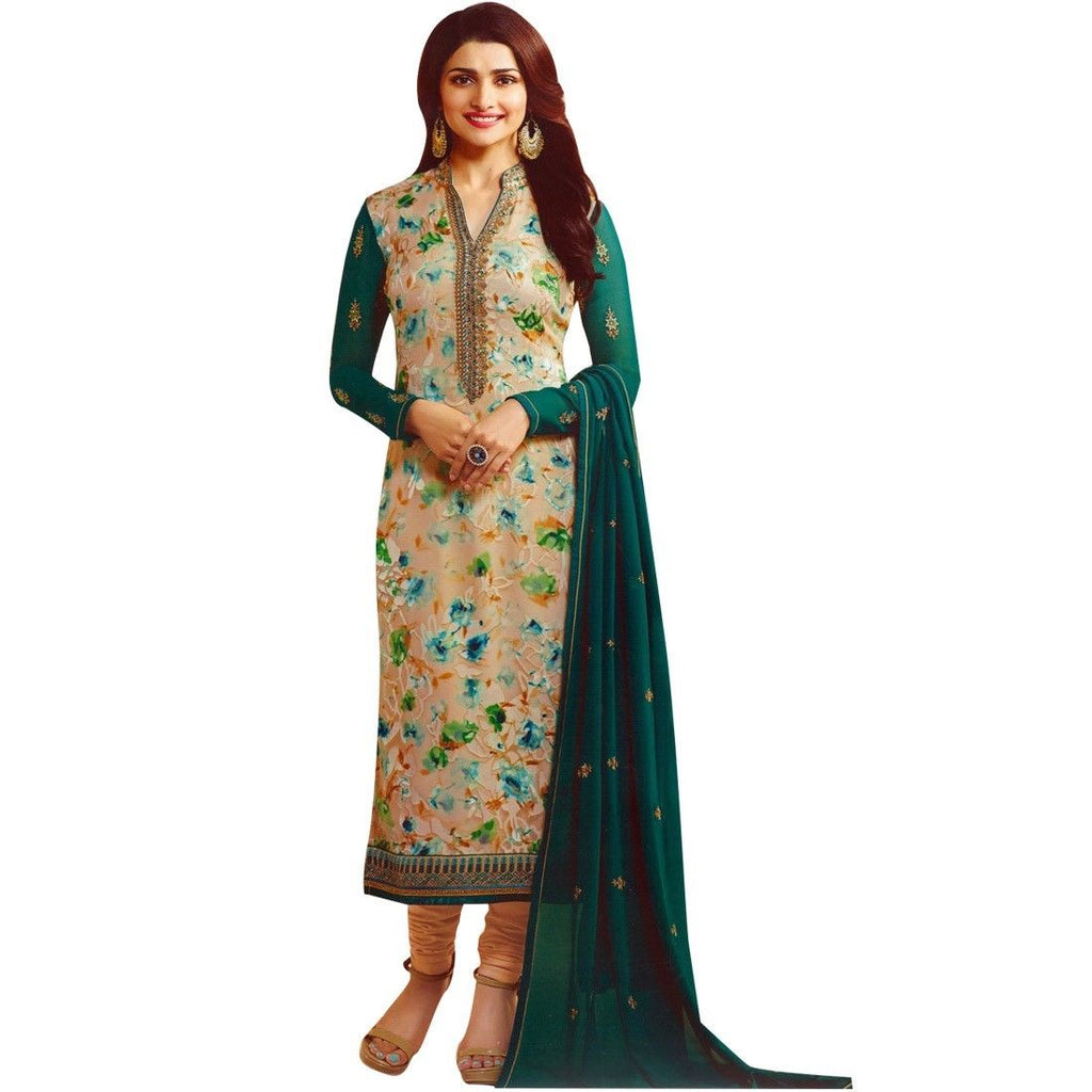 Designer Wedding Partywear Brasso Georgette Embroidered Salwar Kameez Suit Indian Pakistani Dress
