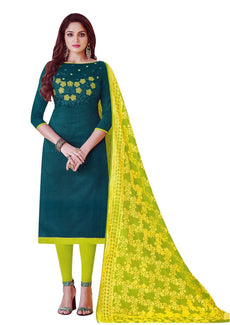 LADYLINE Silk Embroidered Plain Salwar Kameez with Banarasi Silk Dupatta Indian Pakistani Dress for Womens