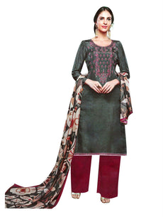LADYLINE Silk Embroidered Salwar Kameez with Silk Printed Dupatta Wedding Partywear Indian Dress