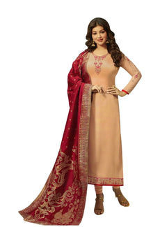 LADYLINE Wedding Salwar Kameez Maslin Silk Embroidered with Banarasi Silk Dupatta Indian Dress