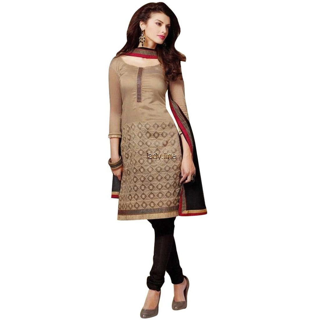 Ready Made Silk Embroidered Cotton Salwar Kameez Suit India Dress