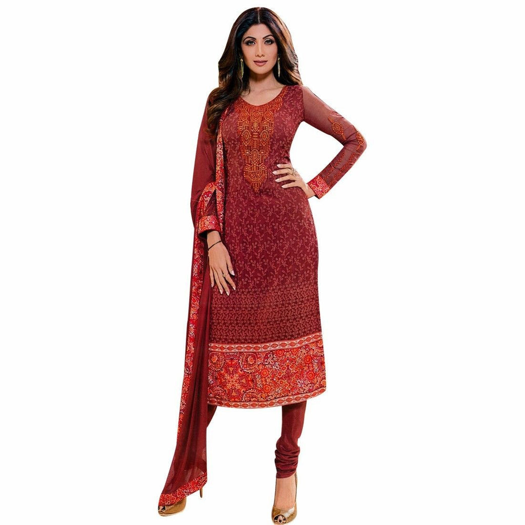 Designer Front Embroidery-Back Printed Salwar Kameez Wedding Formal