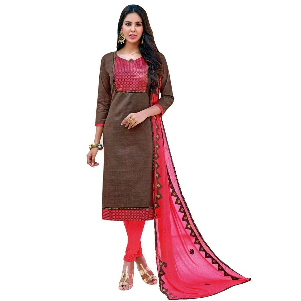 Readymade Cotton Salwar Kameez Embroidered Dupatta Indian Dress