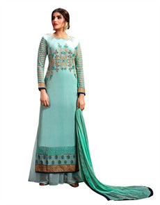 Ladyline Wedding Partywear Floor Length Georgette Embroidered Long Salwar Kameez Ready to Wear Indian Dress