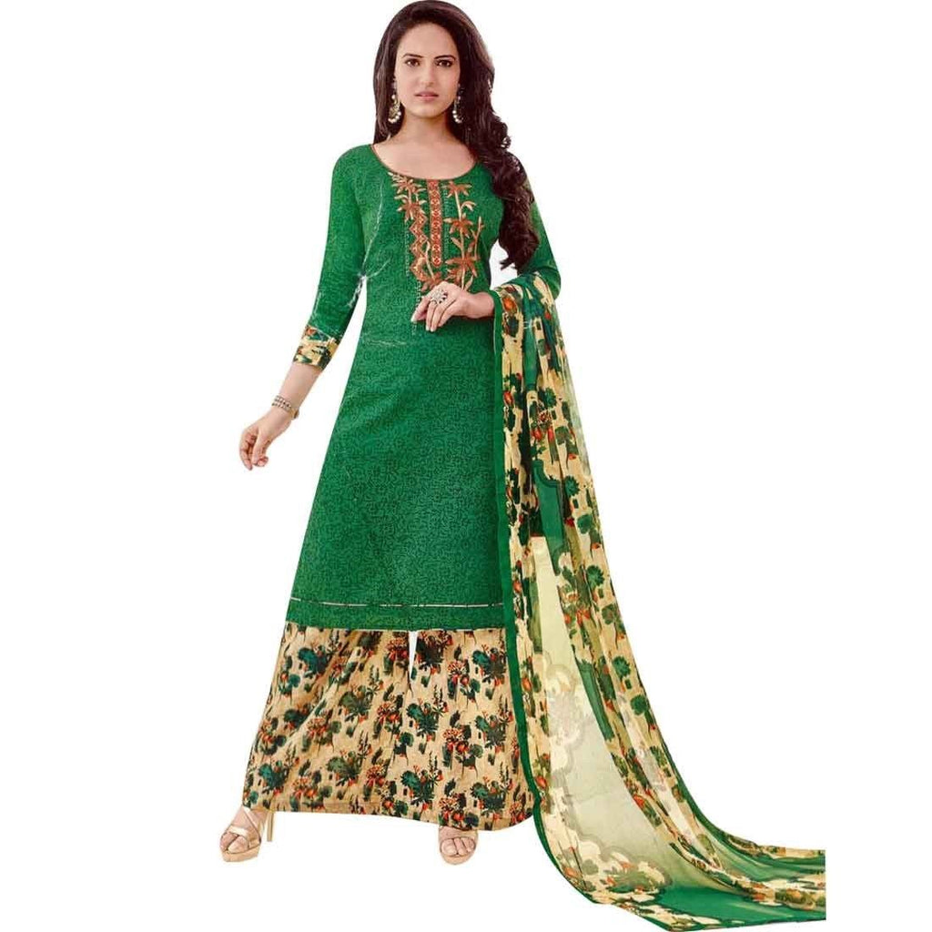 Ready to wear Cotton Embroidered Salwar Kameez Palazzo Pants Printed Indian Dress