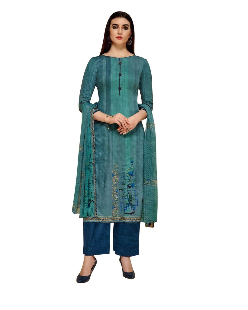 LADYLINE Womens Long Salwar Kameez 100% Cotton Printed with Buttons