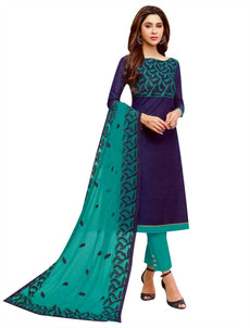 LADYLINE Designer Silk Embroidered Salwar Kameez with Embroidered Nett Dupatta