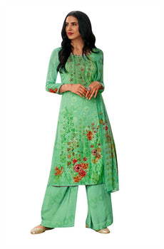Readymade Chiffon Georgette Embroidered Salwar Kameez & Palazzo Pant