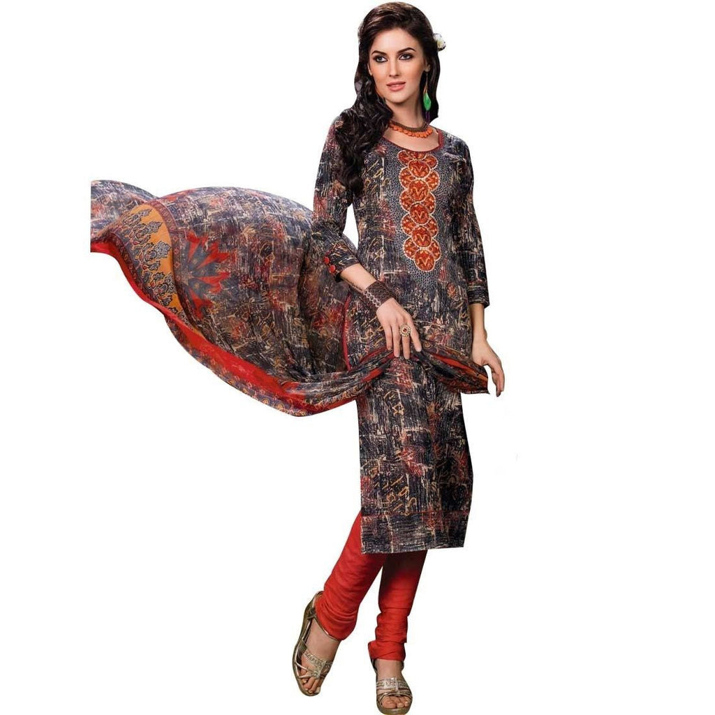 Designer Cotton Printed & Embroidered Salwar Kameez, Print, Casual, Evening Suits
