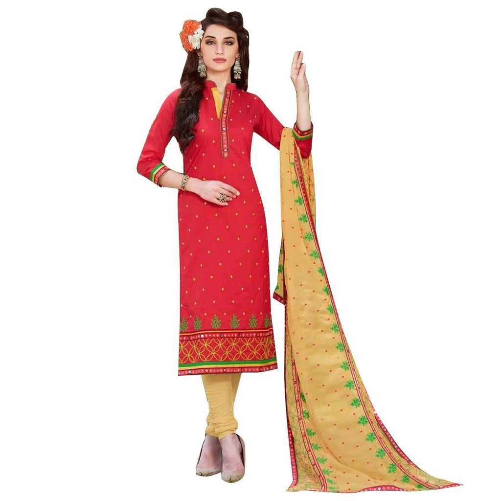 Designer Cotton Embroidered Readymade Salwar Kameez Heavy Dupatta