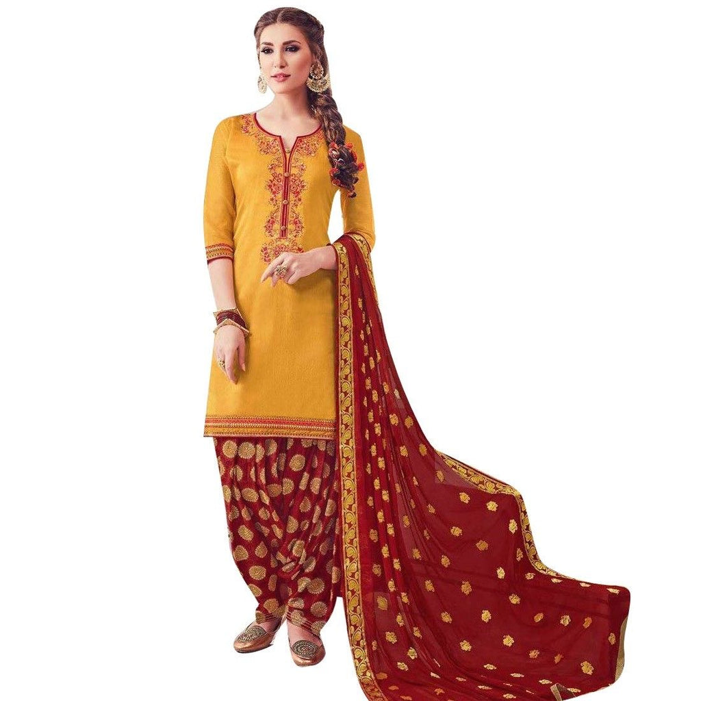 Salwar Kameez Silk Embroidered Patiala Pants With Brocade Dupatta Readymade Indian dress