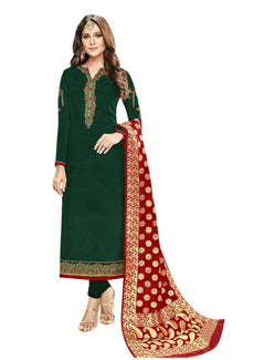 LADYLINE Salwar Kameez Partywear Silk Embroidered Plain with Banarasi Silk Dupatta Indian Wedding Dress for Womens