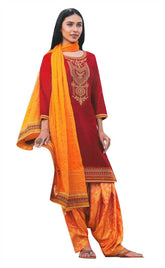 Womens Cotton Embroidered Salwar Kameez with Brocade Silk Patiala Salwar
