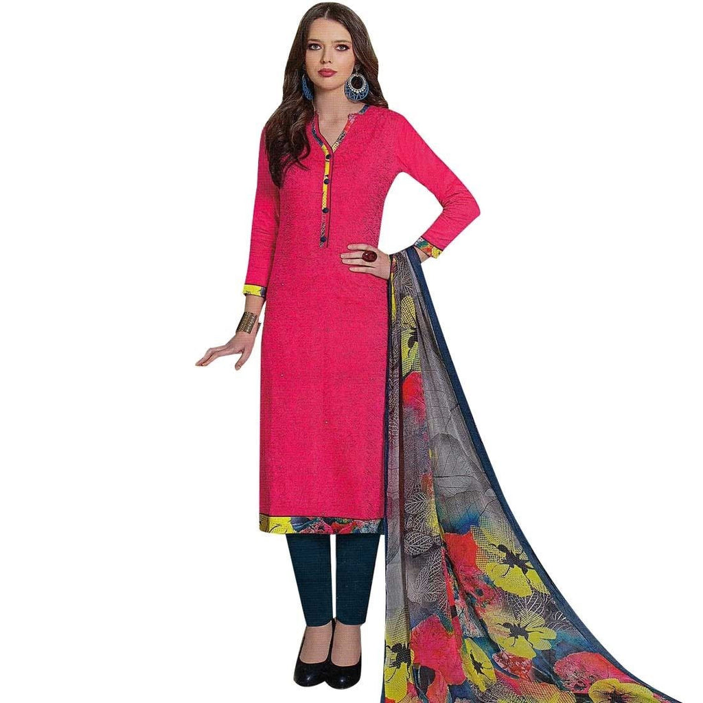 Designer Glaze Cotton Embroidered Salwar Kameez Suit Indian Dres