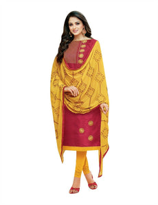 Ladyline Faux Silk Plain Embroidered Salwar Kameez with Embroidery Dupatta Indian Womens Dress
