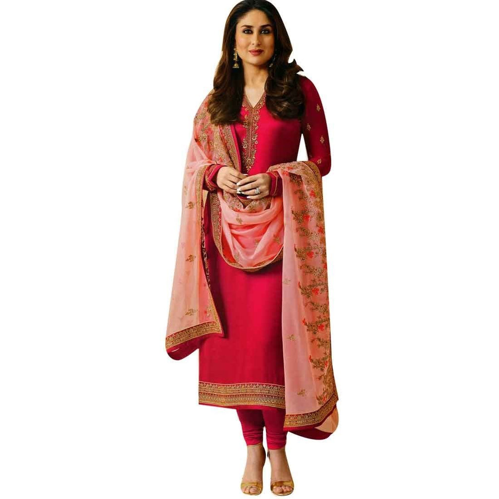 Designer Wedding Embroidered Dupatta Georgette Salwar Kameez Suit Indian