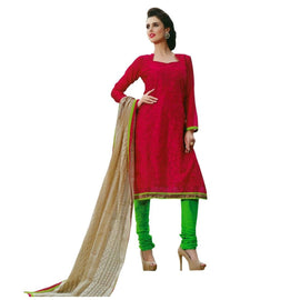 Designer Silk Embroidered Dupatta Salwar Kameez Suit Indian Dress