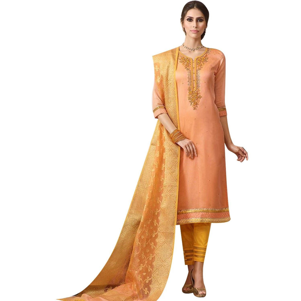 Readymade Salwar Kameez Rich Blend Silk Embroidered with Bararasi Silk Weaving Dupatta Indian Wedding Dress