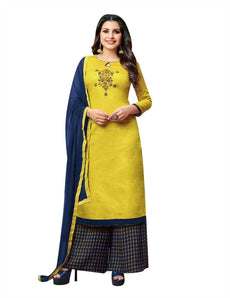 Ladyline Art Silk Handworked Salwar Kameez with Printed Palazzo Pants Indian Womens Dress