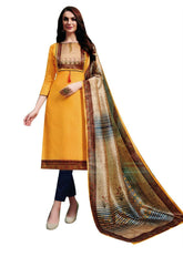 Ladyline Cotton Silk Ethnic Print Salwar Kameez with Chanderi Silk Dupatta & Straight Pants Womens