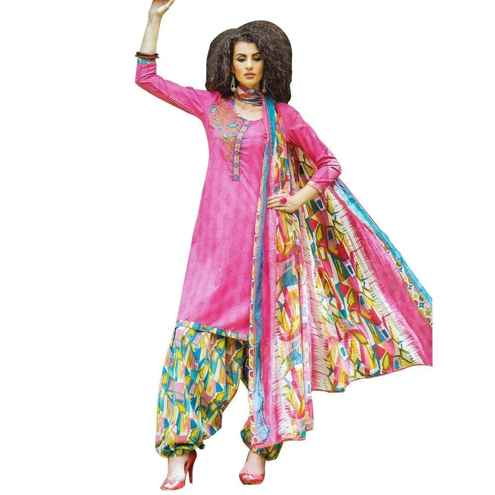 Ready To Wear Cotton Embroidered Printed Salwar Kameez Suit India