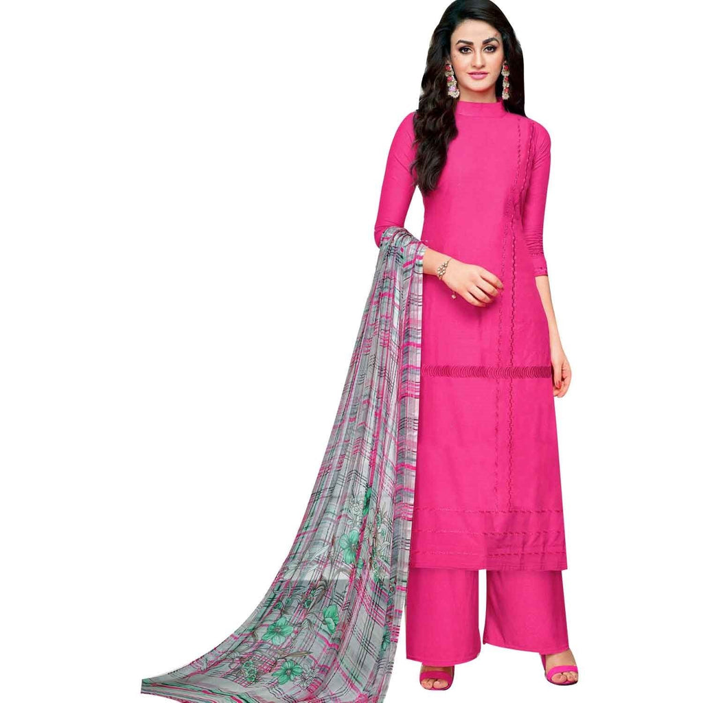 LADYLINE Pure Cotton Plain Salwar Kameez Embroidered with Beautiful Chiffon Printed Dupatta