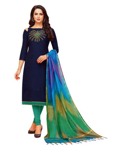 Ladyline Plain Silk Embroidered Salwar Kameez with Banarasi Silk Dupatta Ready made Indian Pakisatni Dress
