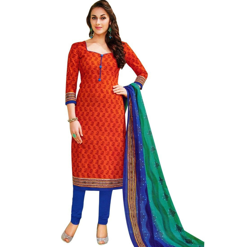 Readymade Designer Ethnic Printed Cotton Salwar Kameez Suit Indian