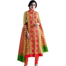 Ready made Elegant Cotton Embroidered Salwar Kameez Suit Silk Dupatta Indian