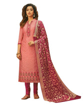 Womens Formal Cotton Silk Embroidered Salwar Kameez with Banarasi Silk Dupatta
