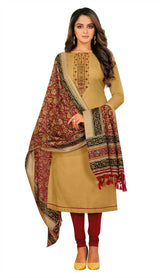 Slub Cotton Plain Embroidered Salwar Kameez Suit with Bhagalpuri Silk Dupatta