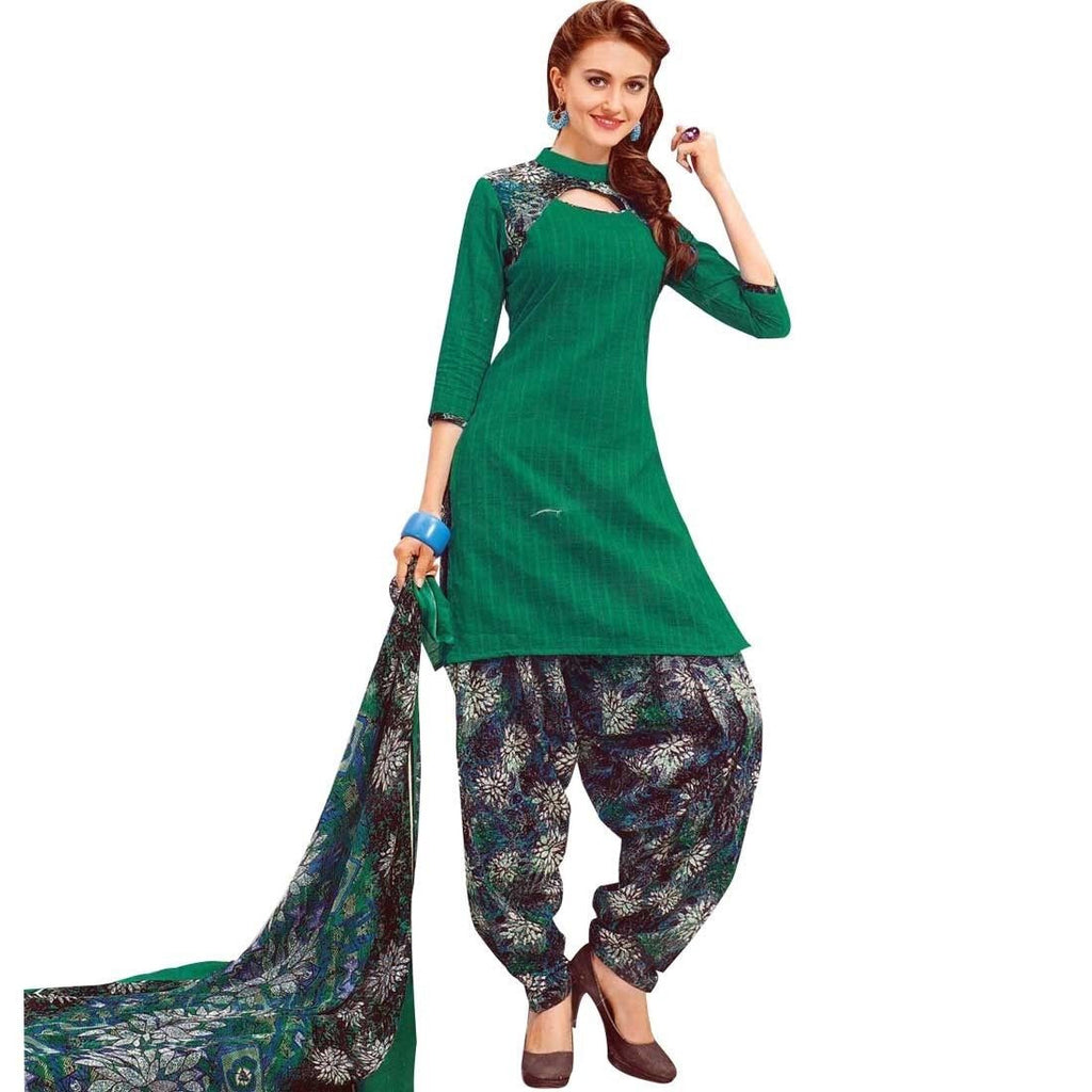 Readymade Printed Cotton Salwar Kameez with Chiffon Dupatta