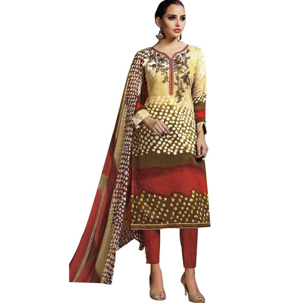 Ready To Wear Embroidery & Print Cotton Salwar Kameez Suit Indian