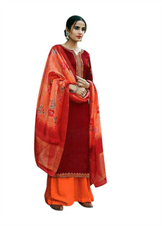 Ladyline Partywear Maslina Silk Embroidered Salwar Kameez with Chiffon Silk Dupatta Wedding Ready made Indian Dress
