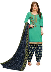 LADYLINE Cotton Handworked Salwar Kameez with Bandhani Dupatta & Brocade Patiala Salwar