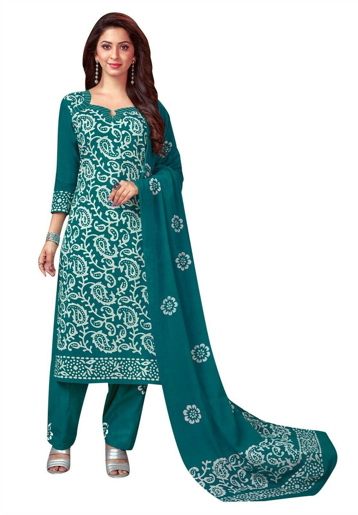 Ladyline Cotton Traditional Batik Printed Salwar Kameez Ready to Wear Indian Dress