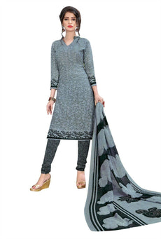 LADYLINE Womens French Crepe Printed Salwar Kameez Casual Indian Dress Ready made