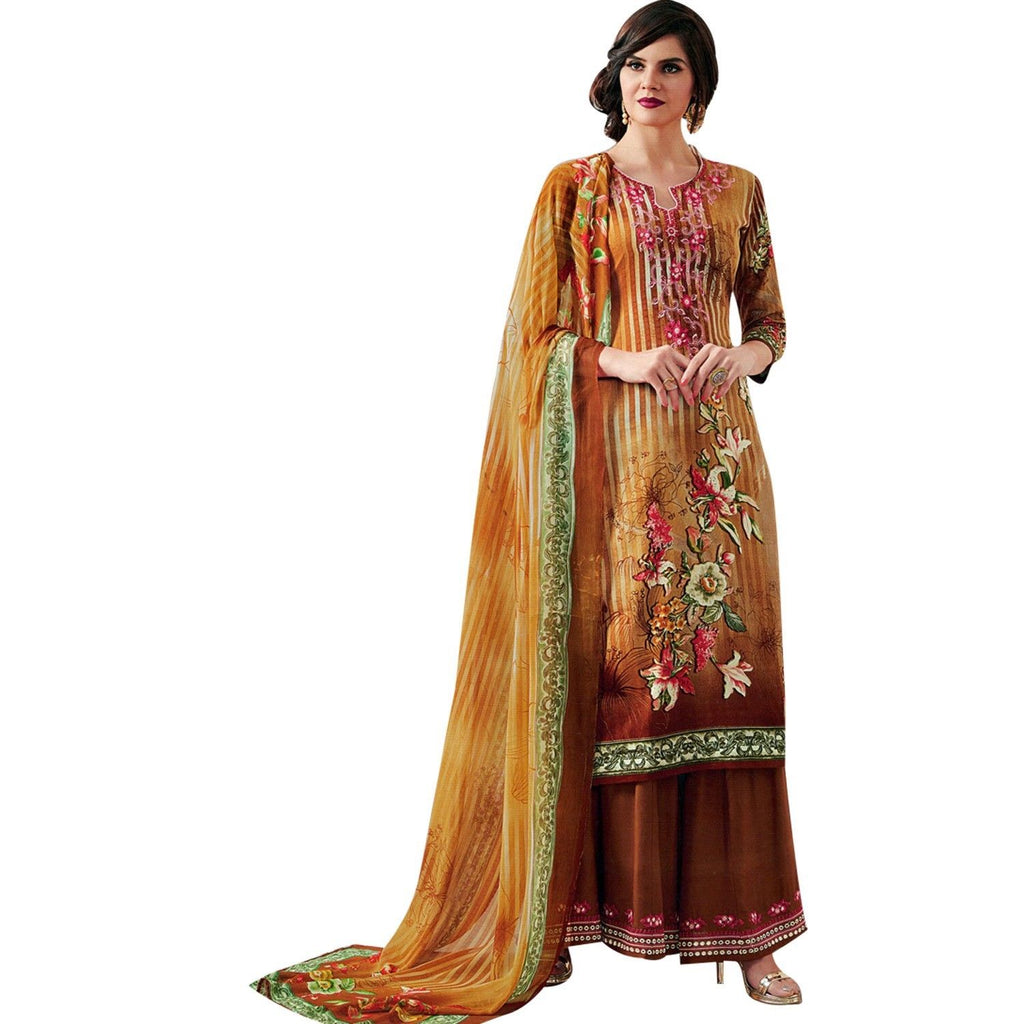 Readymade Salwar Kameez Cotton Elegant Embroidered Printed with Palazzo Pants Indian Bollywood