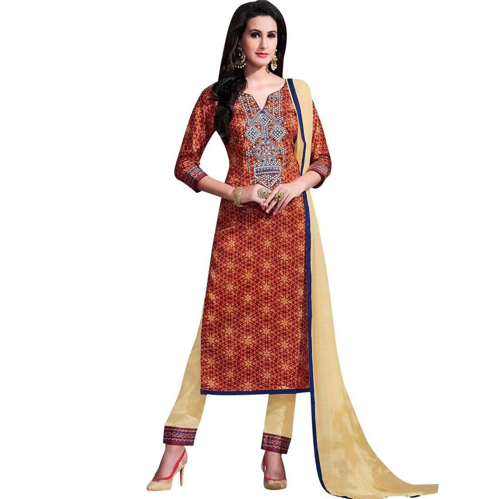 Readymade Ethnic Print Cotton & Embroidery Salwar Kameez Suit Indian