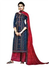 Ladyline Glace Cotton Embroidered Salwar Kameez Suit Rayon Embroidery Palazzo Pants & Silk Dupatta