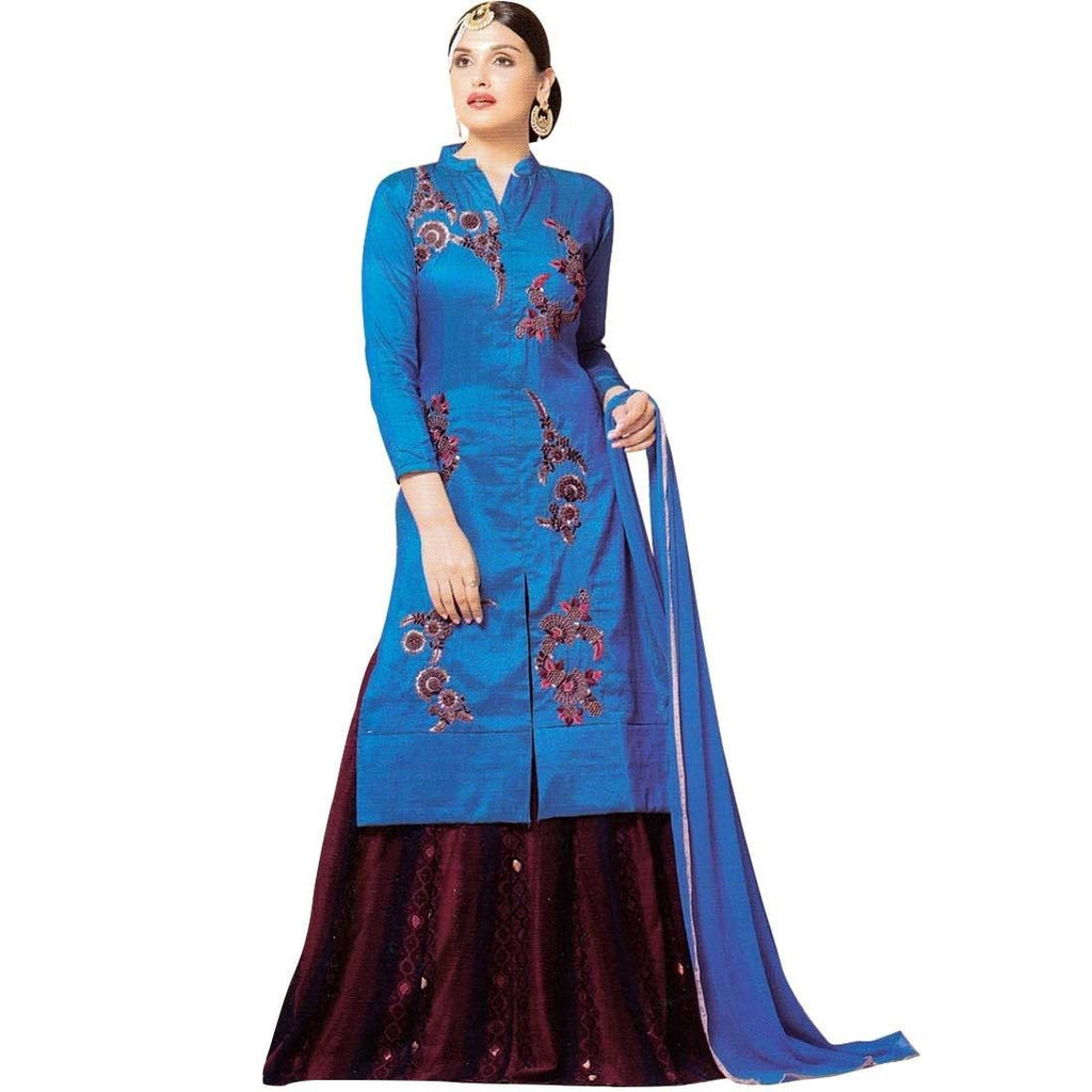 Designer Bollywood Silk Salwar Kameez Skirt Embroidered Dress