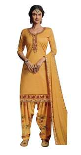 Ladyline Formal Cotton Embroidered Salwar Kameez Suit with Patiala Salwar Printed & Chiffon Dupatta